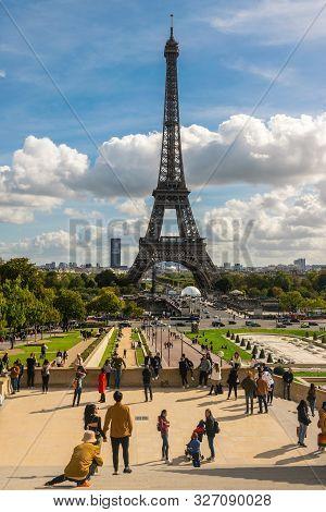10.10.2019. Paris, France. View On Eiffel Tower In Paris.sunni Day In Paris. Stunning Eiffel Tower I