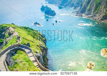 Rocks Of San Juan De Gaztelugatxe And Cantabrian Sea Water, Pais Vasco Spain, Toned