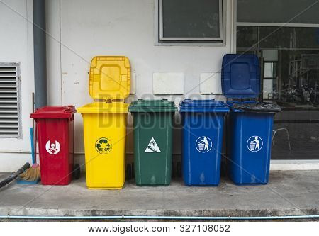 Garbage Trash Bins For Collecting A Recycle Materials. Garbage Trash Bins For Waste Segregation. Sep