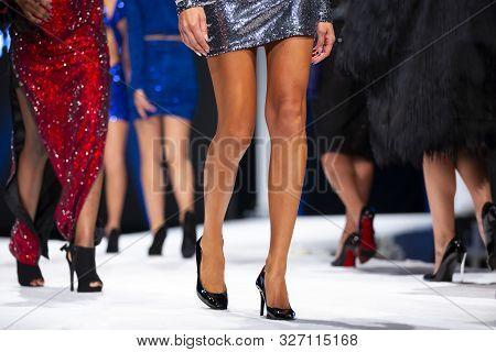 Sofia, Bulgaria - 18 September 2019: Female Models Walk The Runway In Beautiful Designer Dresses Dur