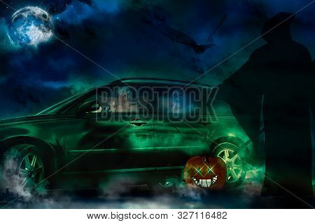 Halloween Ghosts Driving A New Car. Grim Reaper On The Road.there Is A Full Harvest Moon And Dark Cl