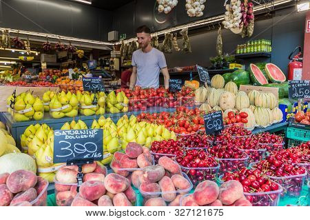 Ventimiglia Italy. 14 June 2019. A Colourful Display Of Fruit And Veg At The Local Market In Ventimi
