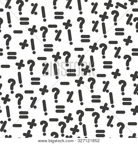 Vector Seamless Pattern With Question Marks. Monochrome Hipster Background. Black Punctuation Marks.