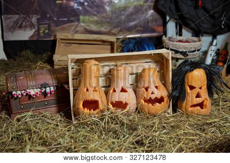 Halloween Pumpkin Grinning In The Most Evil Fashion . Spooky Halloween Jack O Lantern . Pumpkin On D