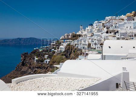 Santorini, Greece - April, 2018: The Beautiful Village Of Imerovigli At Santorini Island