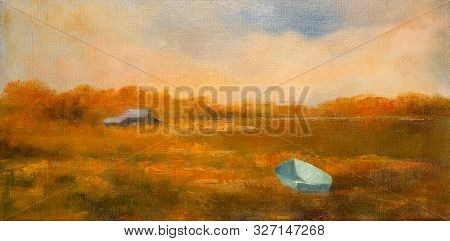 Impressionist Style Painting Of A Fisherman Boat In A Swamp And A Shack In The Distance.