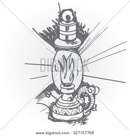 Kerosene Lamp. Black And White Sketch Of A Tattoo.