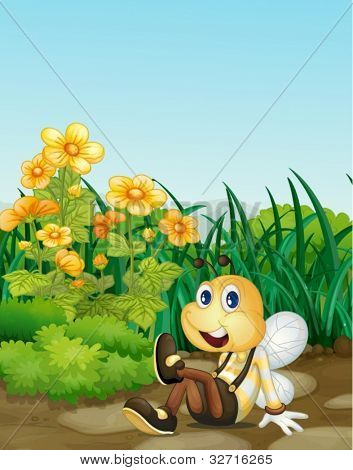 Illustration of bee in a garden