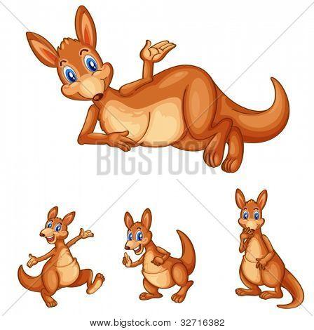 Illustraiton of mixed kangaroo cartoons
