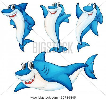 Illustraiton of comical shark series