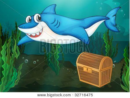 Illustraiton of shark swimming near chest
