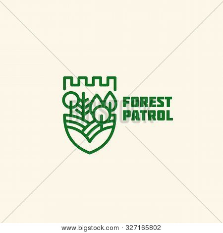 Forest Patrol Logo Design Template In Linear Style. Vector Illustration.