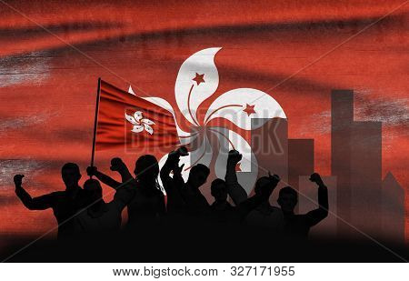 Political Relationships. Hong Kong Flag Background With Protesting People. Hong Kong Demonstration.