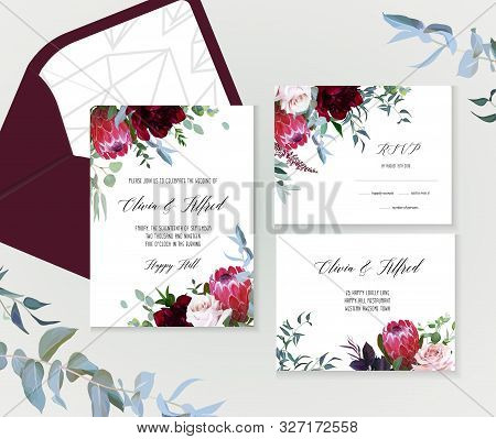 Luxury Fall Flowers Vector Design Frames. Protea Flower, Dusty Pink Garden Rose, Burgundy Red Peony,