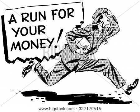 A Run For Your Money - Retro Clipart Illustration