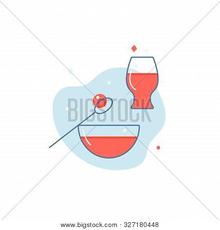 Set Line Style Icons For Dinner. Plate With Soup, Rissole, Glass With Juice. Simple Elements For Res