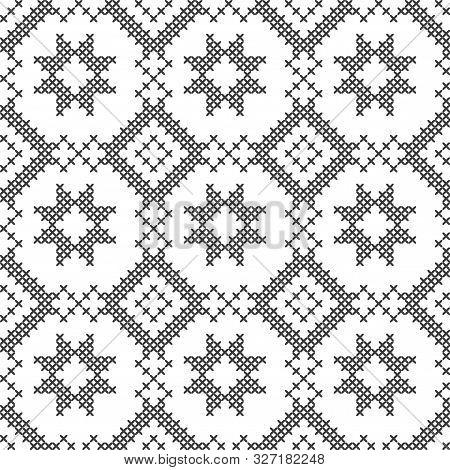 Black And White Geometric Pattern. Imitation Cross Stitch. Hand Made Background.