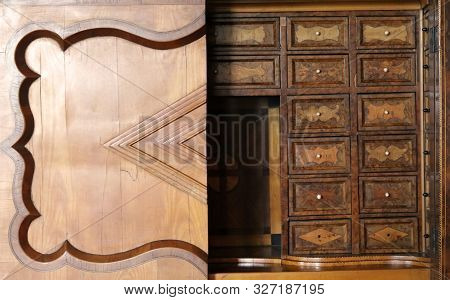 Casta, Slovakia - August 31, 2019: Vintage Wooden Drawer Secretaire Decorated With Secret Boxes