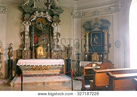 Casta, Slovakia - August 31, 2019: Interior Of Medieval Cerveny Kamen (red Stown) Castle. Church In