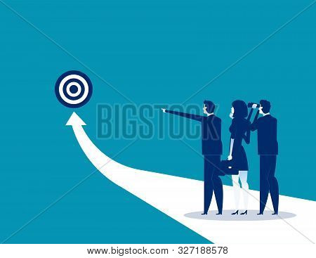Success. Business Team Analysis To Success. Concept Business Vector Illustration, Flat Business Cart