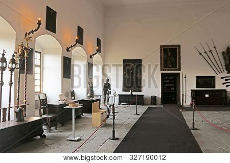 Casta, Slovakia - August 31, 2019: Interior Of Medieval Cerveny Kamen (red Stown) Castle. Large Hall