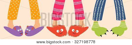 Children Feet In Funny Slippers. Pajama Party