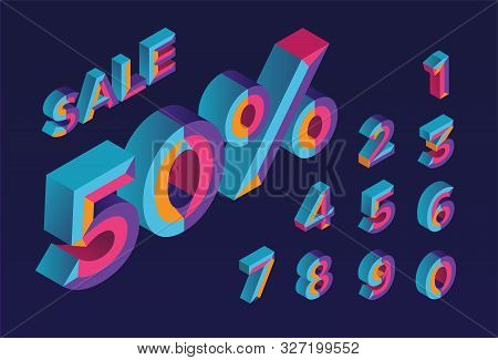50% Sale. 0, 1, 2, 3, 4, 5, 6, 7, 8, 9 Isometric 3d Numeral Alphabet. Percent Off, Sale Background.