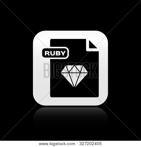 Black Ruby File Document. Download Ruby Button Icon Isolated On Black Background. Ruby File Symbol.