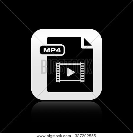 Black Mp4 File Document. Download Mp4 Button Icon Isolated On Black Background. Mp4 File Symbol. Sil