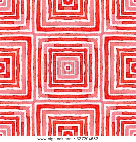 Pink Red Geometric Watercolor. Delightful Seamless Pattern. Hand Drawn Stripes. Brush Texture. Uncom