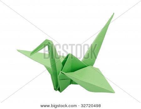 Green Origami Paper Crane