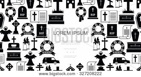 Flat Funeral Icons Seamless Pattern With Cemetery Crosses Coffins Hearse Car Angel Wreath Bible Urn