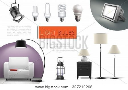 Realistic Lamps And Bulbs Composition With Spotlights Floor Lamps Lantern Led And Fluorescent Lightb