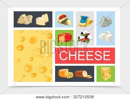 Cartoon Natural Cheese Composition With Dorblu Danablu Raclette Grano Padano Feta Maasdam Mozzarella