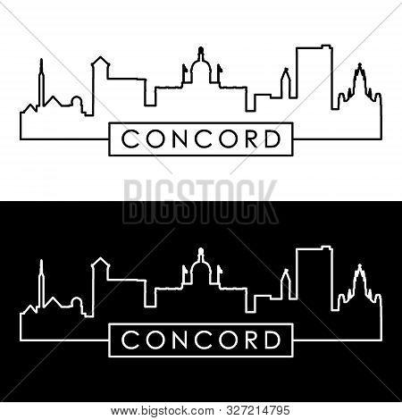Concord, New Hampshire Skyline. Linear Style. Editable Vector File.