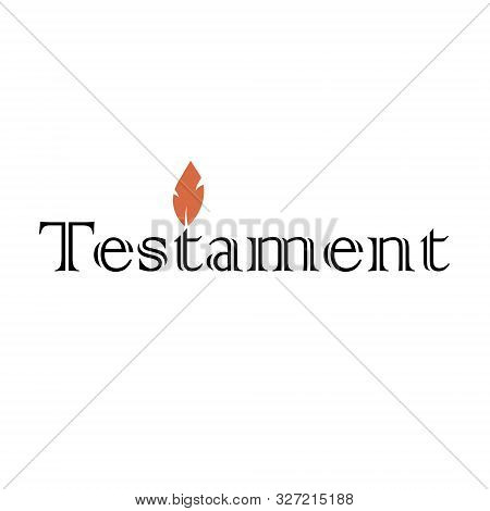 Testament Icon Text Logo With Orange Flame Candle In Black And White Color