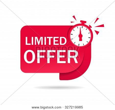 Red Limited Offer Tag With Clock For Promotion, Banner, Price. Label Countdown Of Time For Offer Sal
