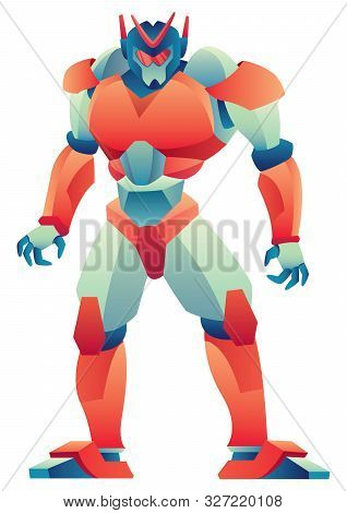 Giant Robot Standing Tall On White Background.