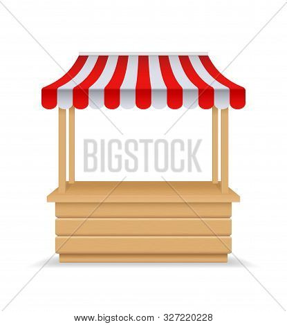Wooden Market Stall, Fair Booth. 3d Empty Kiosk With Striped Awning, Roof. Isolated Market Booth Moc