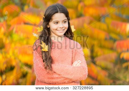 The Mellow Autumn Mood. Happy Small Child In Good Mood Outdoors. Little Child Play On Fresh Air On A