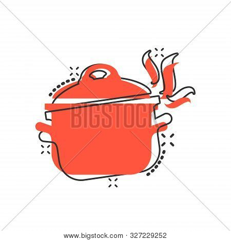 Vector Cartoon Cooking Pan Icon In Comic Style. Kitchen Pot Concept Illustration Pictogram. Saucepan