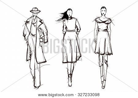 Beautiful Young Women. Hand Drawn Stylish Woman Portrait. Fashion Lady. Winter Outfit. Sketch. Fashi