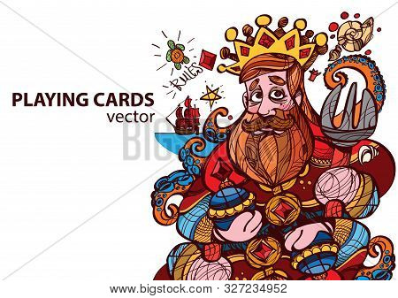King Of Diamonds Playing Card Suit. Vector Illustration.