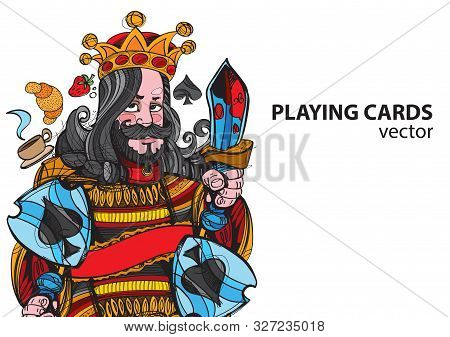 King Of Spades Playing Card Suit. Vector Illustration.
