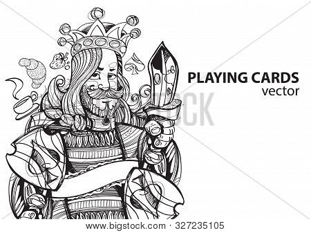 King Of Spades Playing Card Suit. Outline Drawing.