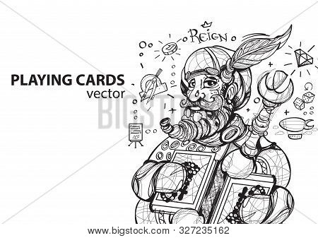 King Of Clubs Playing Card Suit. Outline Drawing.