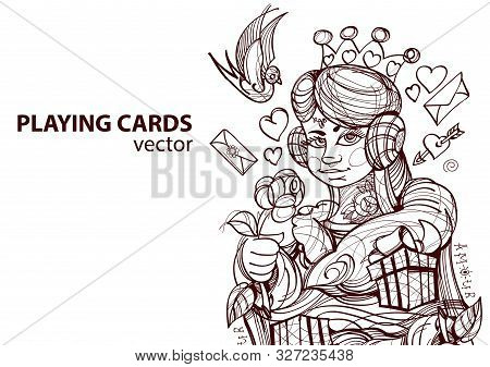 Queen Of Hearts Playing Card Suit. Outline Drawing.
