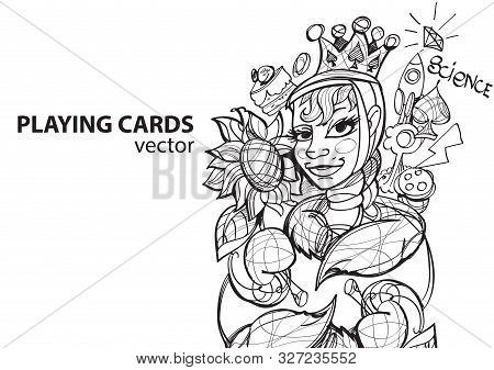 Queen Of Spades Playing Card Suit. Outline Drawing.
