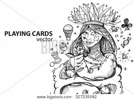 Queen Of Clubs Playing Card Suit. Outline Drawing.
