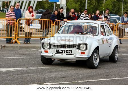 LEIRIA, PORTUGAL - APRIL 22: José Grosso drives a Ford Escort MKI during Leiria City Slalom